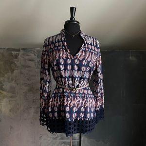 Tory Burch Fern Lace Crochet Blouse Navy - SZ 8